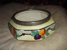 UNUSUAL ART DECO YELLOW LUSTRE POT WITH SILVER PLATED RIM BOLD FRUIT STRATFORD